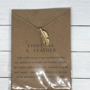 Feather Pendant Gold Necklace New